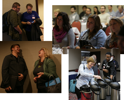 collage of photos of attendees talking to each other and listening to talks